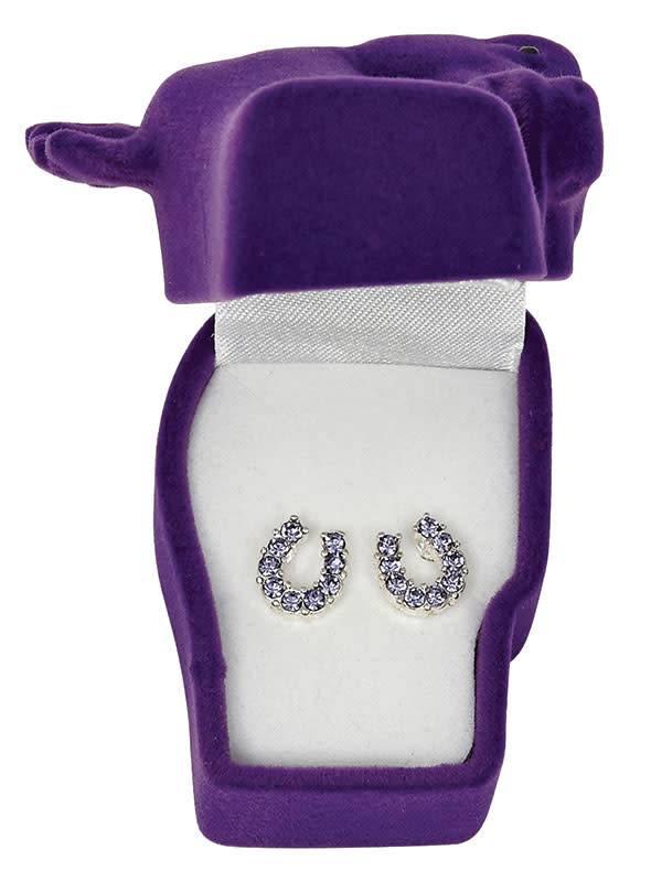 WEX Earrings - Purple Rhinestone Horseshoes in Gift Box