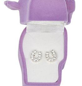 WEX Earrings - Clear Rhinestone Horseshoe in Gift Box