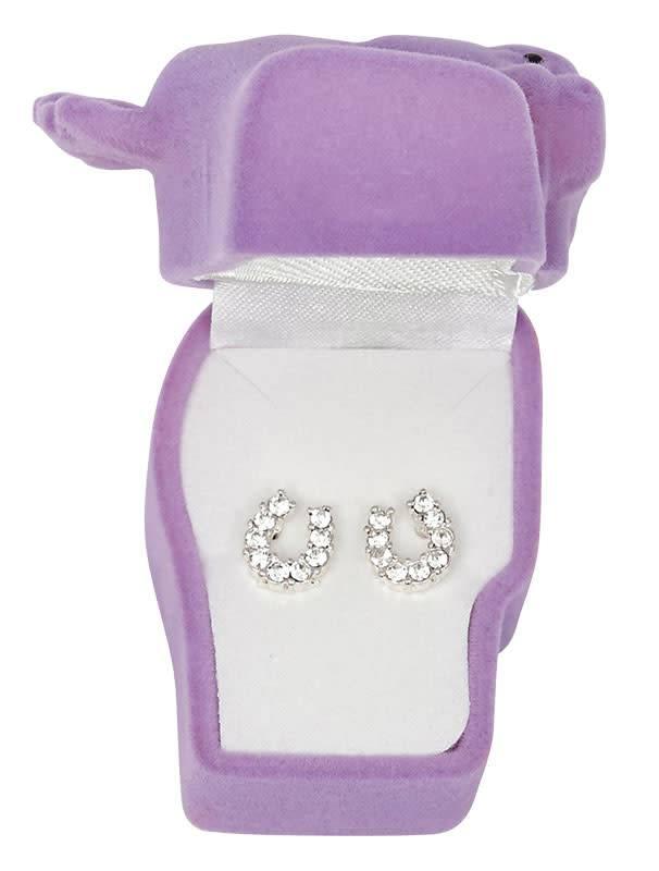 WEX Earrings - Clear Rhinestone Horseshoe in Gift Box