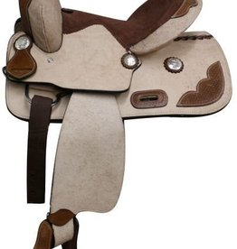 "Double T 13"" FQHB Rough Out Youth Saddle w/Tooling"