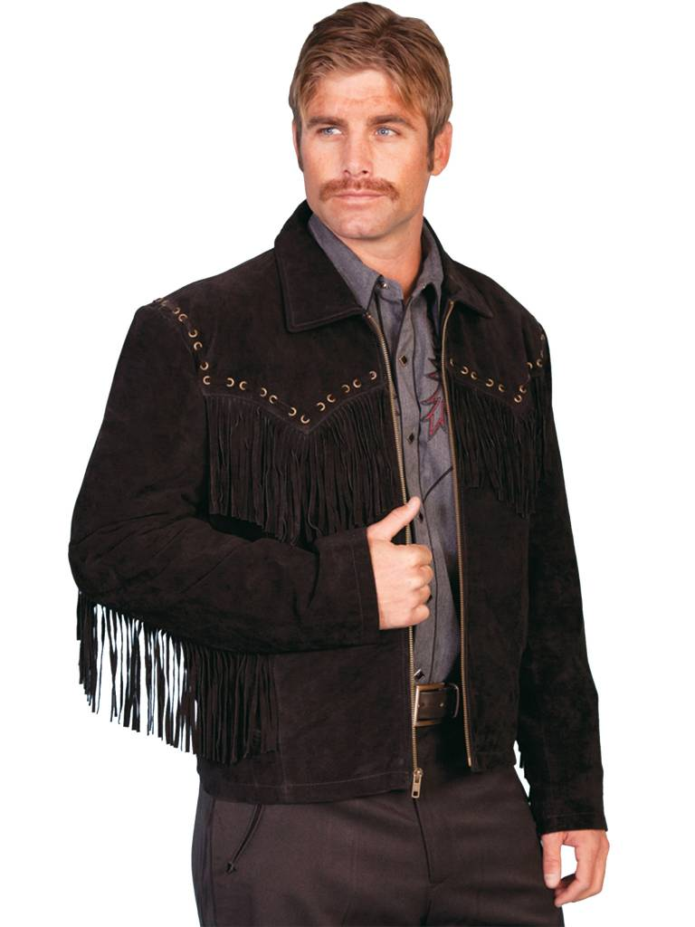 Scully Leather Men's Scully Boar Suede Fringe Jacket