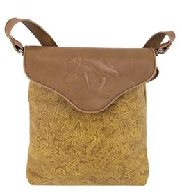 AWST Handbag - Tan Tooled Cross Body w/Lila Horse
