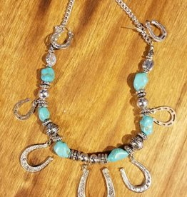 Set - Necklace/Earrings Horseshoe & Turquoise Stones