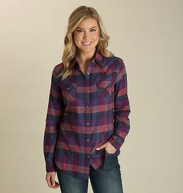 Wrangler Women's Wrangler Unbrushed Flannel Purple/Teal Shirt