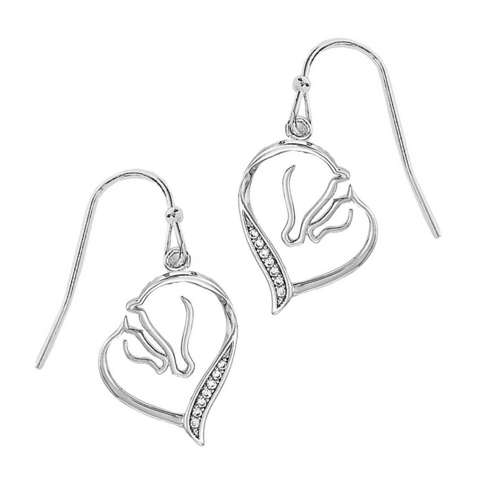 AWST Earrings - Mare & Foal Horse Head - Rhodium -Crystal