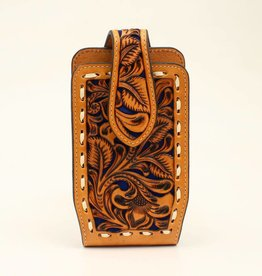 Nocona Cell Phone Case - Nocona Tooled Leather Light Oil