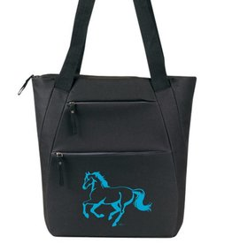 AWST Tote Bag - Lila Linear Horse - Black & Turquoise