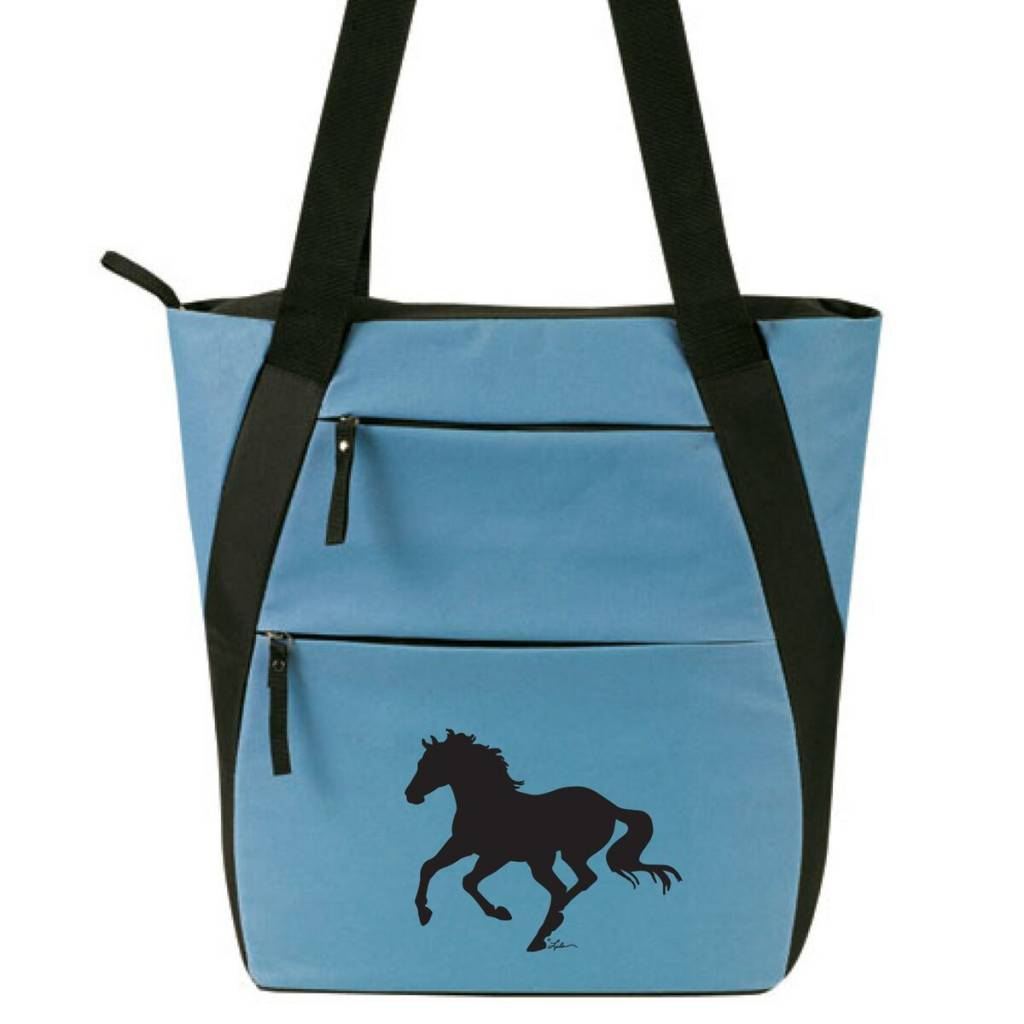 AWST Tote Bag - Lila Silhouette Horse - Silver Blue & Black