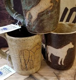 Peasley Pottery Coffee Mug - Maine Made Stoneware w/Equine Designs, by Peasley Pottery - 14oz