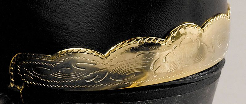 WEX Boot Heel Guards - Etched Scalloped Brass
