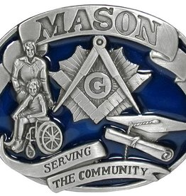 "WEX Belt Buckle - ""Mason, Serving the Community"""