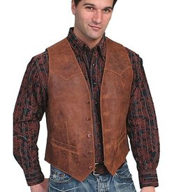Scully Leather Men's Scully Vintage Leather Vest, Brown