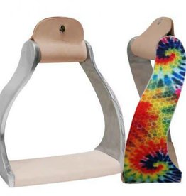 Showman Twisted Angled Aluminum Western Stirrups with Tie Dye Print