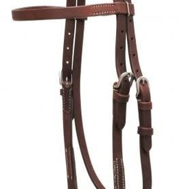 Showman Oiled Harness Leather Headstall Bit Loops