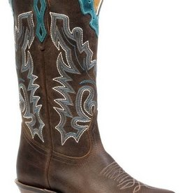 Boulet Western Women's Boulet Cutter Toe Western Boot Brown/Turquoise (Reg. $249.95 NOW 25% OFF)
