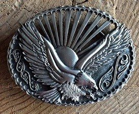 "WEX Belt Buckle - Sunset Eagle 3.75""x2.75"