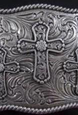 Nocona Belt Buckle - Three Crosses with Rope Edge