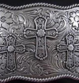 Nocona Belt Buckle - Three Crosses with Rope Edge
