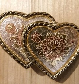 Belt Buckle - Hearts with Rope Edge