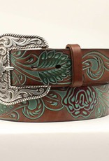 Adult - Ariat Tooled Leather Belt, Turquoise