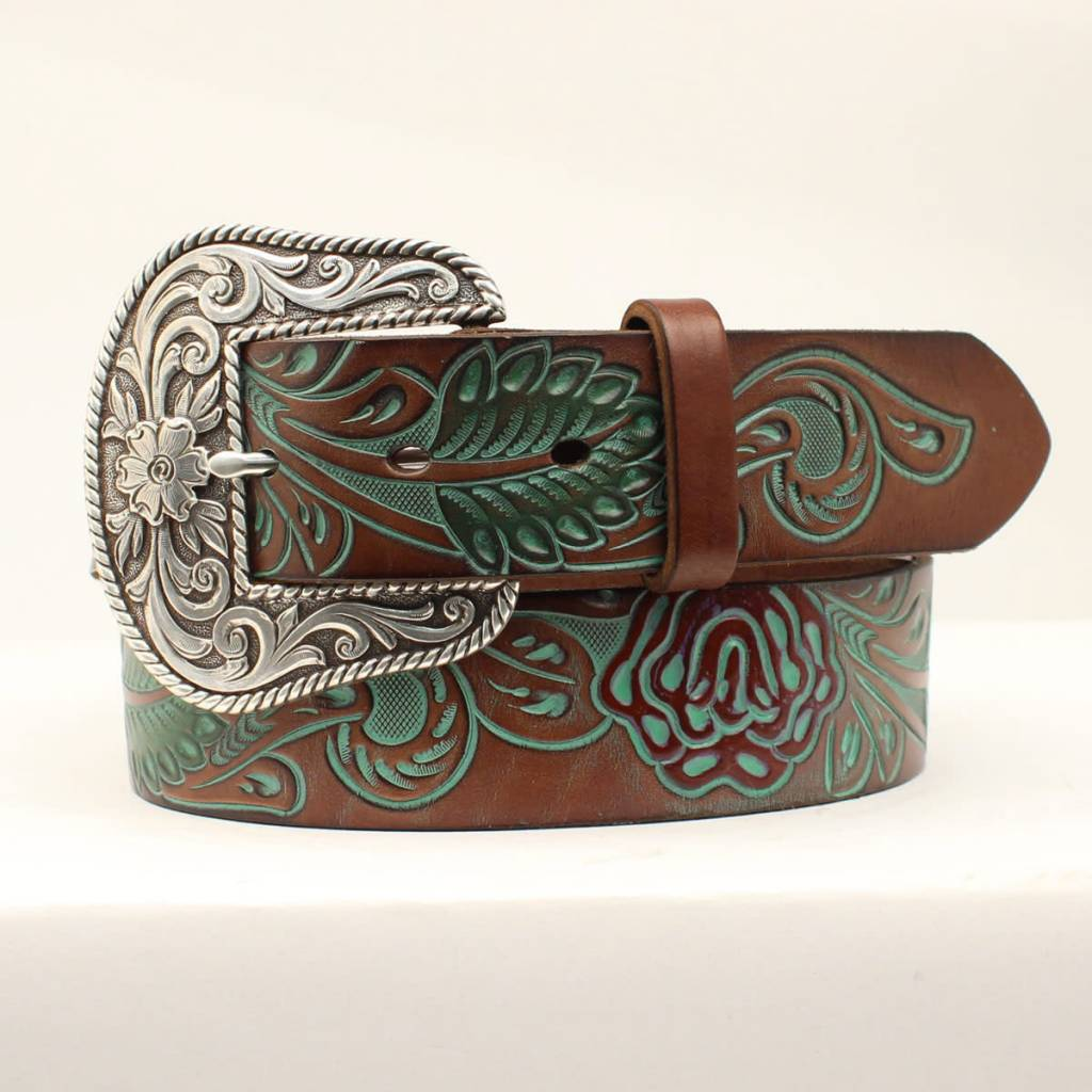 Ariat Tooled Leather Belt, Turquoise