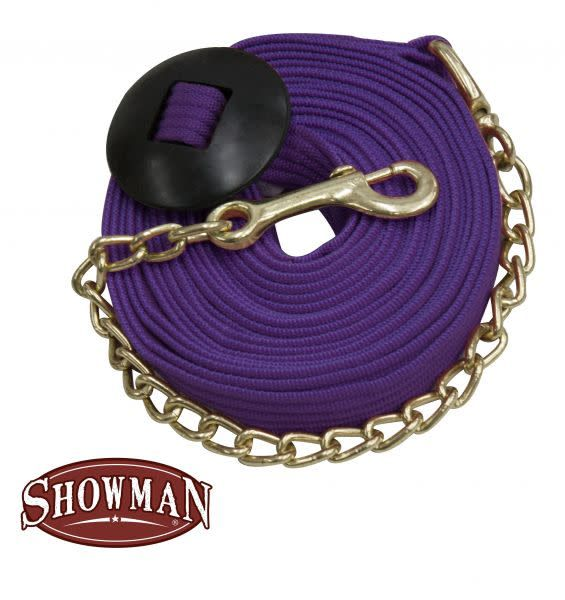 Showman Flat Cotton Web Lunge Line with Brass Chain - 25'