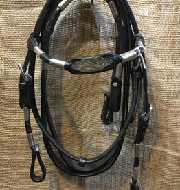 Showman Pony Bridle Set w/Silver & Nickel - Black