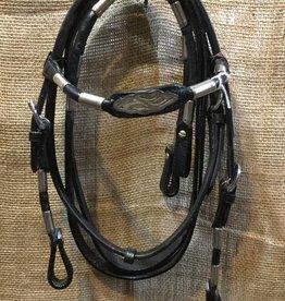 Showman Pony Headstall Set w/Silver & Nickel - Black