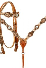 Showman Rawhide Braided Browband Headstall and Breastcollar Set