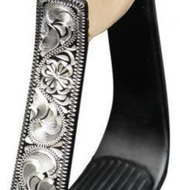 Showman Black Aluminum stirrups with Silver Engraving