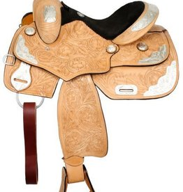 "Double T 14"" FQHB Fully Tooled Double T Youth Show Saddle"
