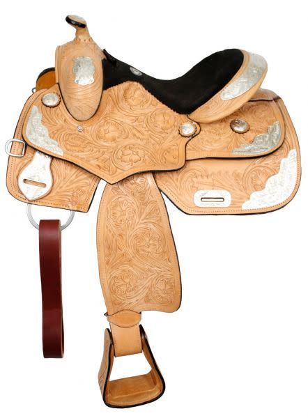 Double T Fully Tooled Double T Youth Show Saddle - 14""