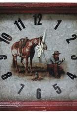 Showman Cowboy Campfire Metal Wall Clock