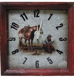 Showman Cowboy Campfire Metal Wall Clock