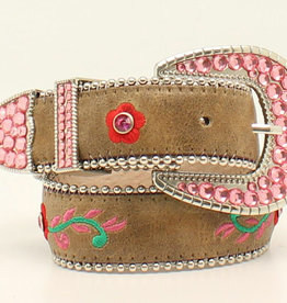 Kids Brown Embroidered Rose Belt