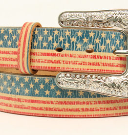 Adult - Brown American Flag Belt