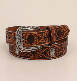 Men's Ariat Scroll Embossing Tan Belt