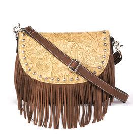 Handbag - Faux Leather Embossed Shoulder Bag
