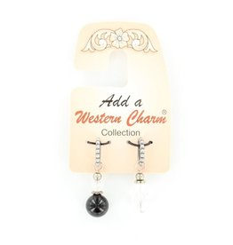 M & F Charm - Black & Crystal