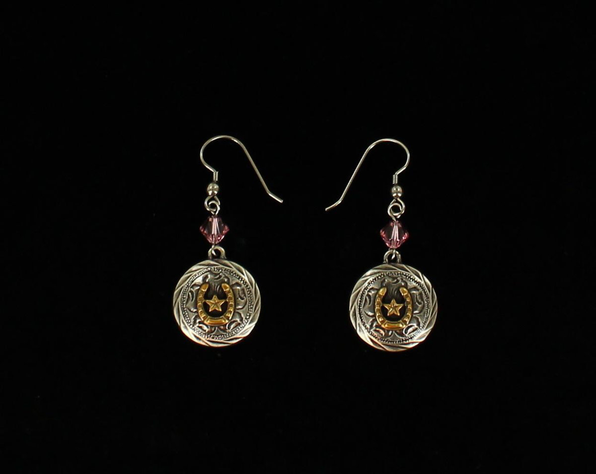Earrings - Round Horseshoe Star