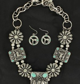 Set - Necklace/Earrings - Horses and Turquoise