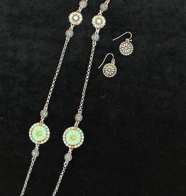 Set - Necklace/Earrings - Beaded Flower Conchos