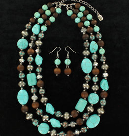 Set - Necklace/Earrings - Turquoise & Brown Stones
