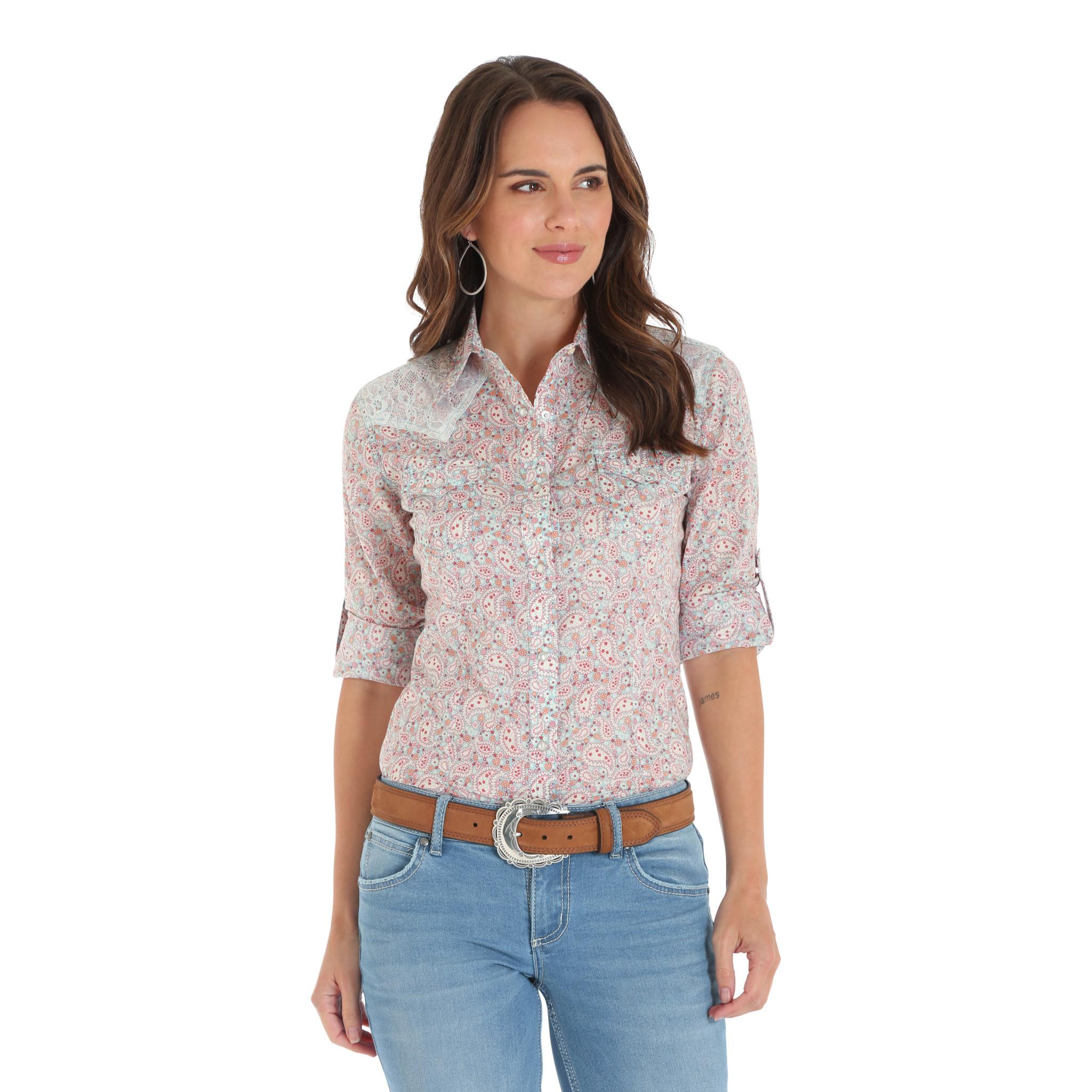 Wrangler Women's Wrangler 3/4 Sleeve Snap Shirt