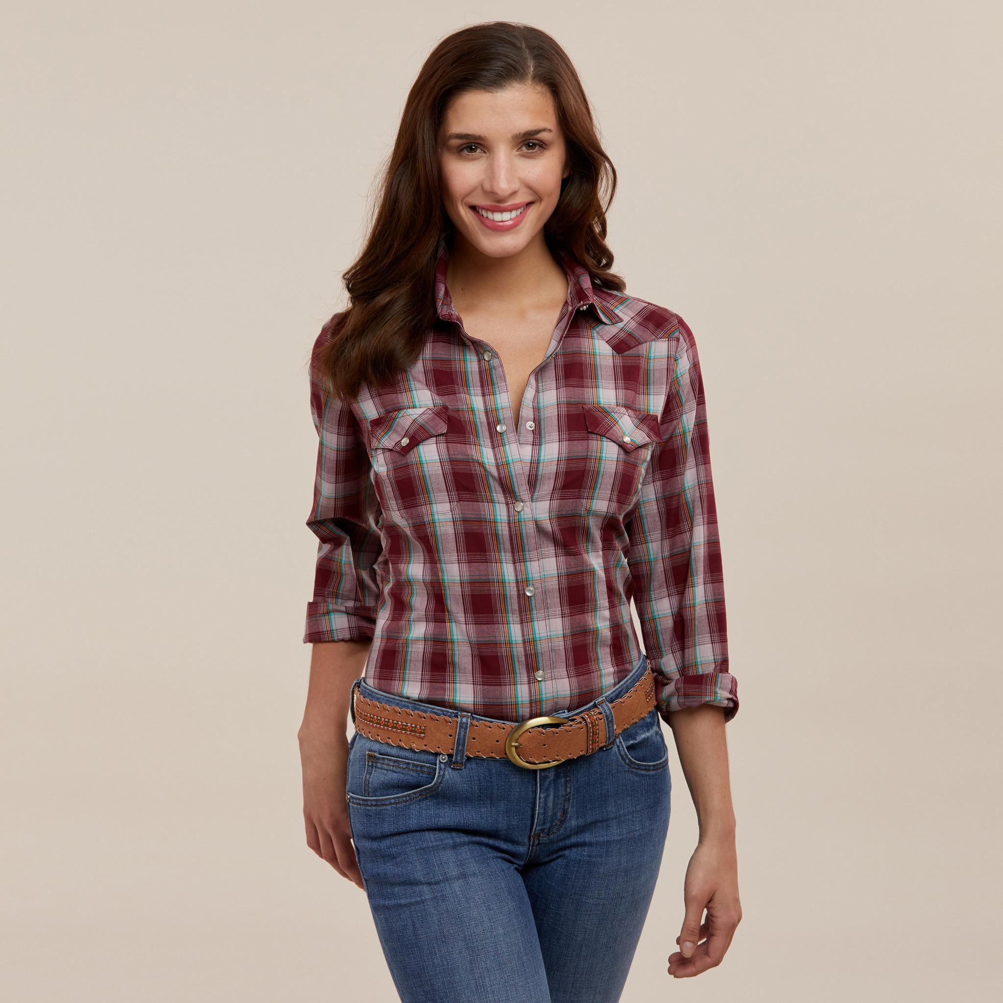 Wrangler Women's Wrangler L/S Snap Wine Shirt