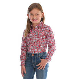 Wrangler Children's Wrangler L/S Red/Blue Paisley Shirt XS