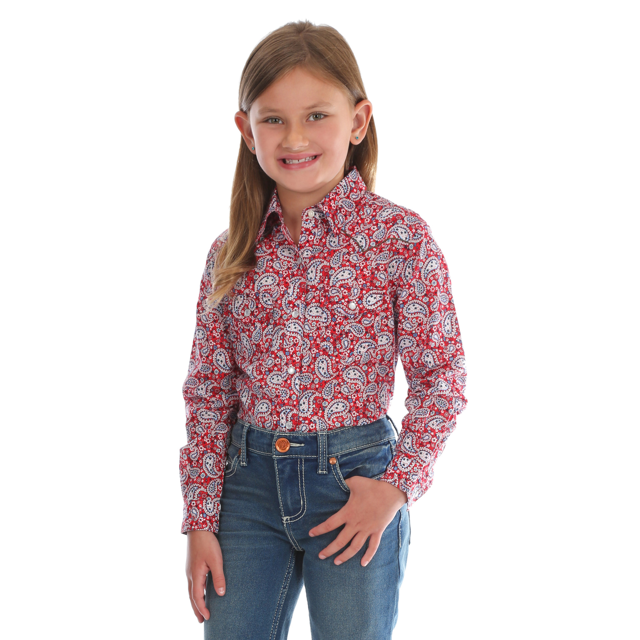 Wrangler Girl's Wrangler L/S Red/Blue Paisley Shirt