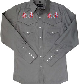 White Horse Men's White Horse Gray Embroidered Confederate Flag Shirt