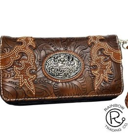 Wallet - Brown Tooled with Concho