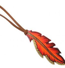 Showman Leather Tie on Feather - Fire & Gold